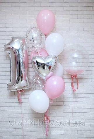 Композиция для девочки с цифрой, шаром баблс, сердцем и цветными латексными шарами, фото 2