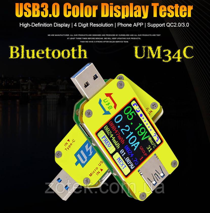 RIDEN UM34C USB тестер Bluetooth