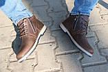 Мужские ботинки кожаные зимние коричневые-матовые Yuves 781, фото 8