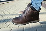 Мужские ботинки кожаные зимние коричневые-матовые Yuves 781, фото 9