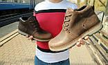 Мужские ботинки кожаные зимние коричневые-матовые Yuves 781, фото 10