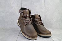 Мужские ботинки кожаные зимние коричневые-матовые Yuves 774, фото 1