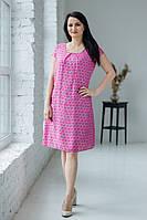 Легка літня сіра шовкова сукня міді в рожевий горошок №510