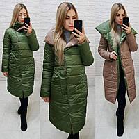 Wow!!! Двухсторонняя куртка одеяло, арт 1006, цвет кофе + хвойный зелёный