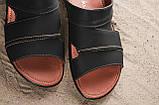 Мужские шлепанцы кожаные летние синие Yuves 99, фото 4