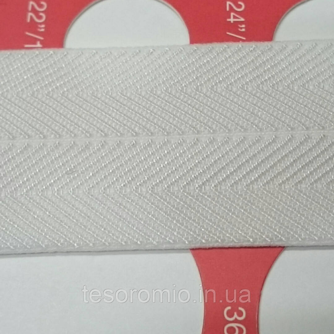 Резинка-бейка белая, с фактурой киперной ленты, 24мм