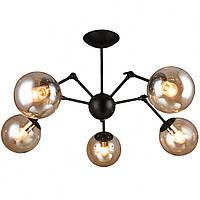 Люстра лофт на 5 лампочек СветМира (черная) PM-4563/5