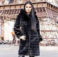 Черная женская шуба до колен метровая с капюшоном мех под норку (от 42 до 56 размера) 13225SU