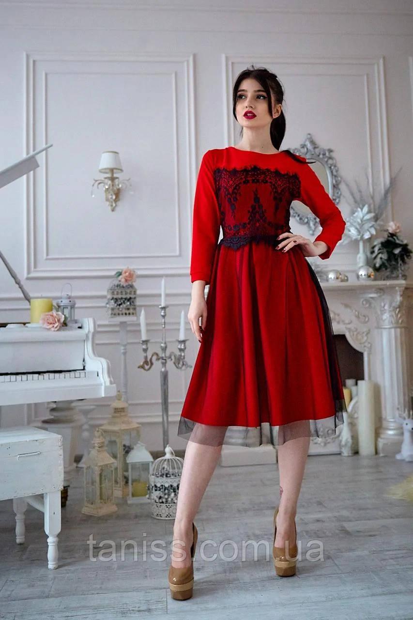 Нарядное шикарное молодежное платье,  юбка-клеш, костюмная ткань р. 44,46,48,50 красное (735) сукня