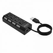 Разветвитель USB 2.0 хаб 4 порта с кнопками on off