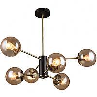 Люстра в стиле лофт на 6 лампочек СветМира (черная + бронза) PM-4617/6