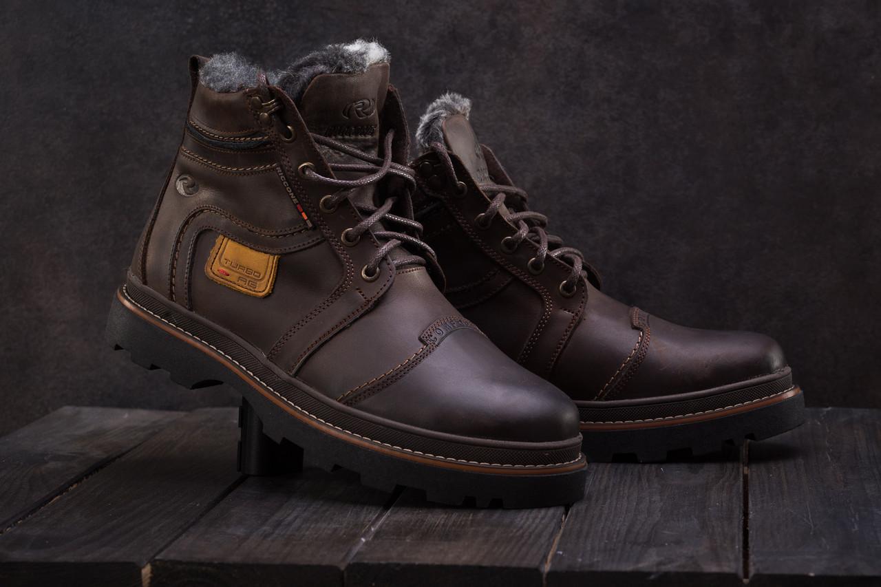 Мужские ботинки кожаные зимние коричневые Riccone 315