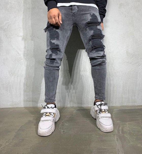 Мужские серые рваные джинсы, Турция