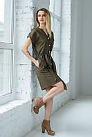 Стильна літня коричнева ситцева сукня-туніка з кишенями та поясом №3055-3