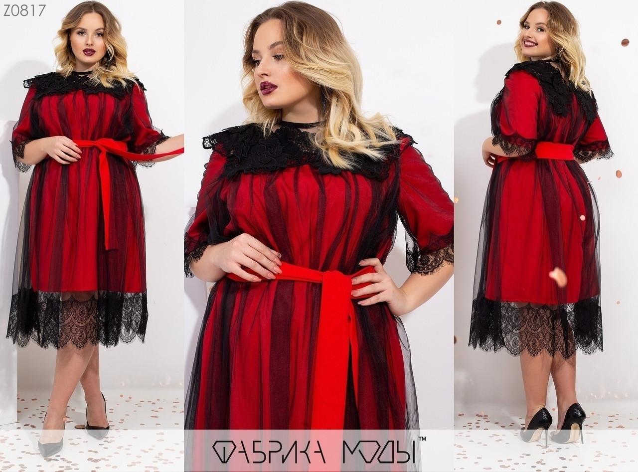 Красивое женское платье под пояс с отделкой сетки и гипюра  60-64