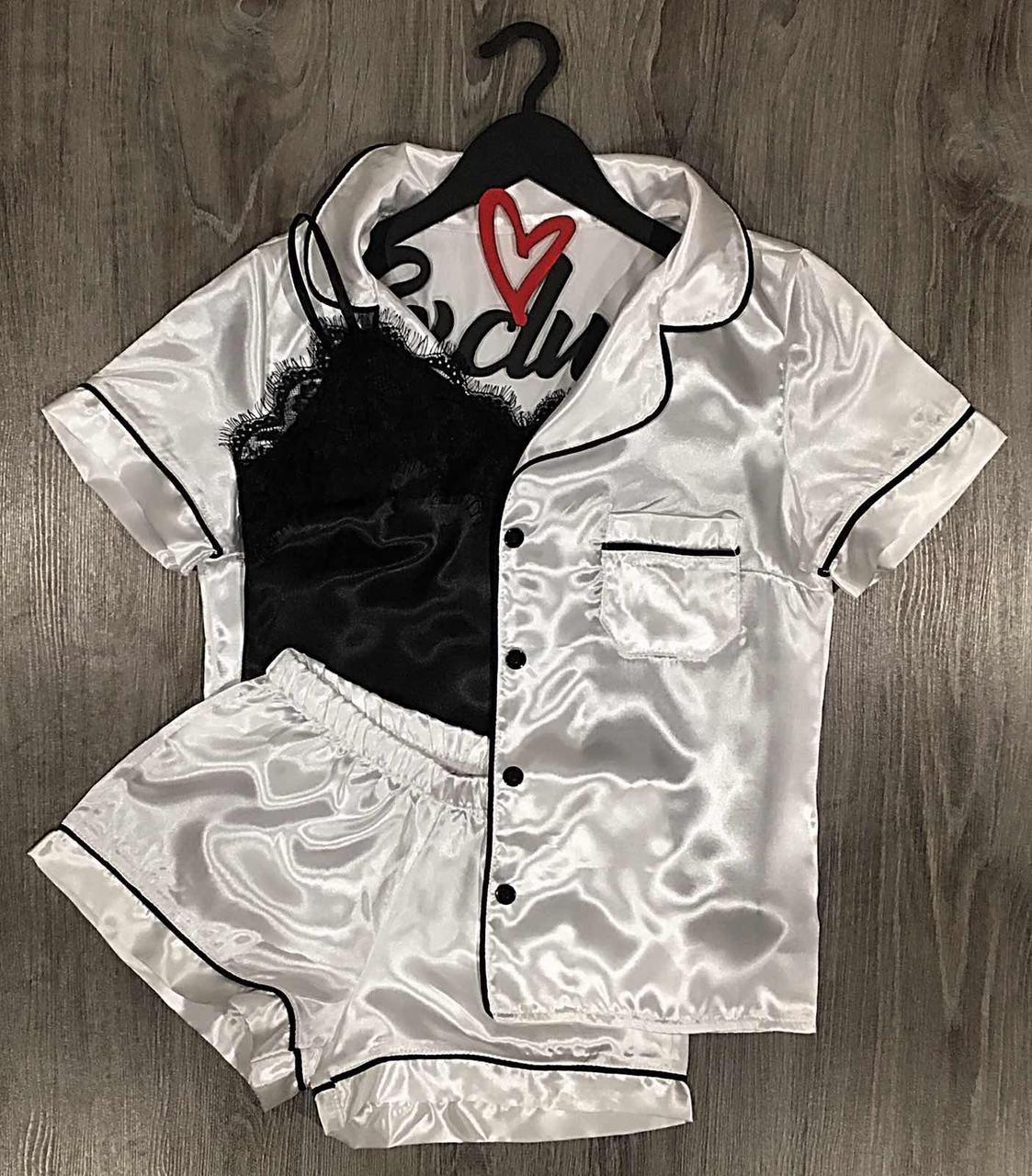 Белая женская пижама тройка рубашка+шорты+майка.
