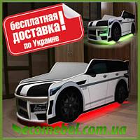 Кровать машина Премиум Land Rover белый с матрасом