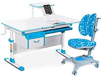 Комплект Evo-kids Evo 40 BL Blue (арт. Evo-40 BL + кресло Y-115 ABK) /(стол+ящик+полка+кресло)/ белая столешни