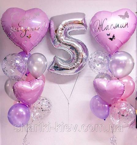 Оформление для девочки с цифрой, большими сердцами с индивидуальной надписью и латексными шарами, фото 2