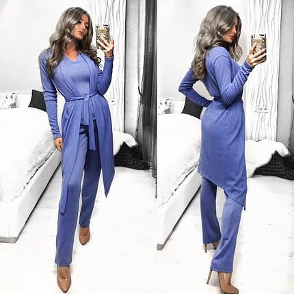 "Красивый женский костюм-тройка Кардиган-майка-брюки ткань ""Трикотаж"" 44 размер норма, фото 2"
