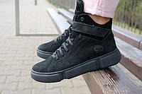 Женские ботинки замшевые зимние черные-нубук Road-style БС105-01Z, фото 1