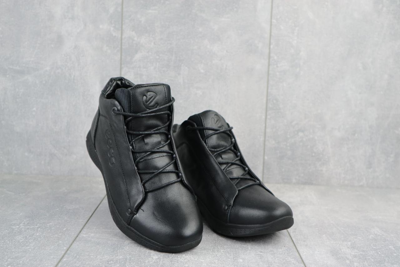 Мужские кроссовки кожаные зимние черные Yavgor 700