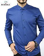 Турецкая мужская рубашка синяя, фото 1