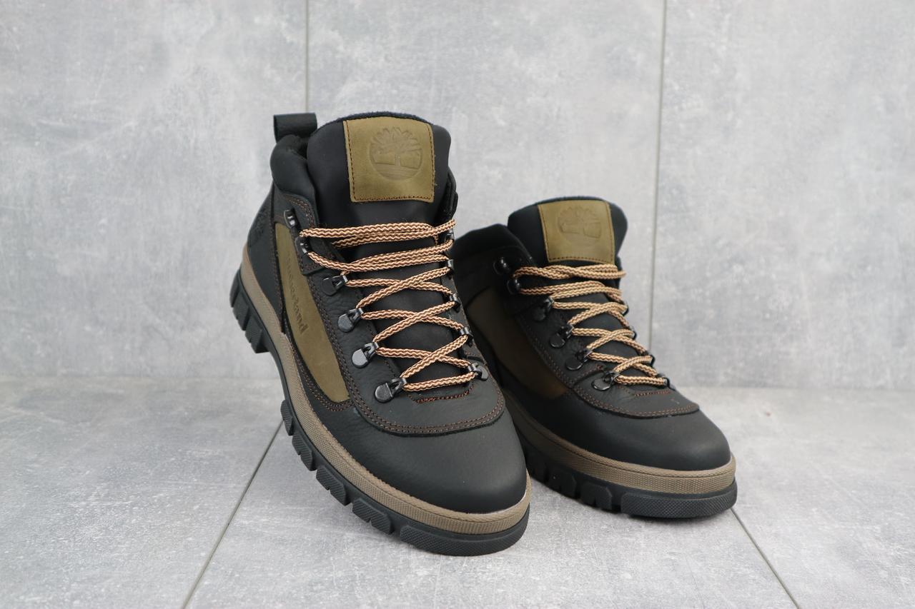 Мужские ботинки кожаные зимние черные-оливковые CrosSAV 301