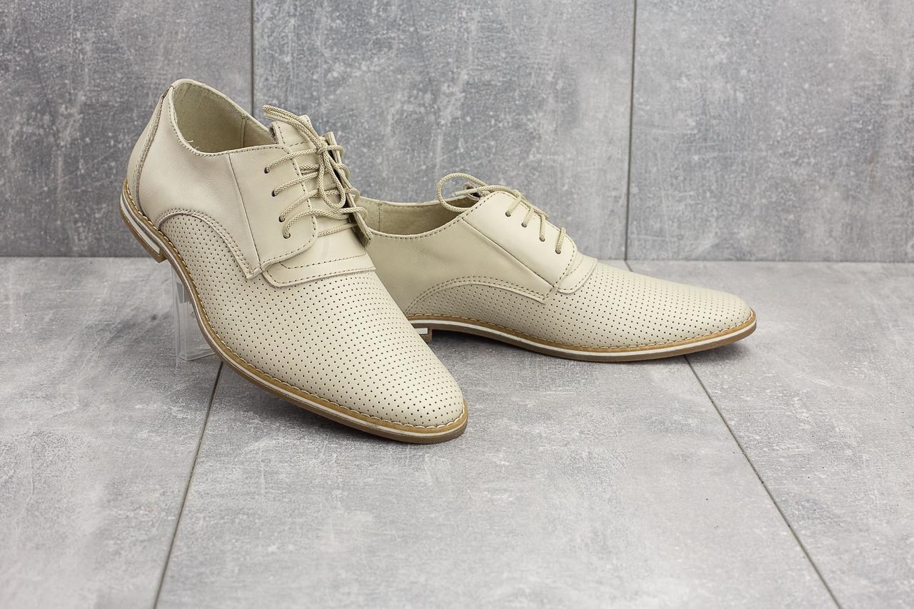 Мужские туфли кожаные летние белые Vankristi 343