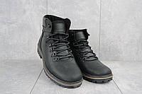 Мужские ботинки кожаные зимние черные-матовые Yuves 700, фото 1