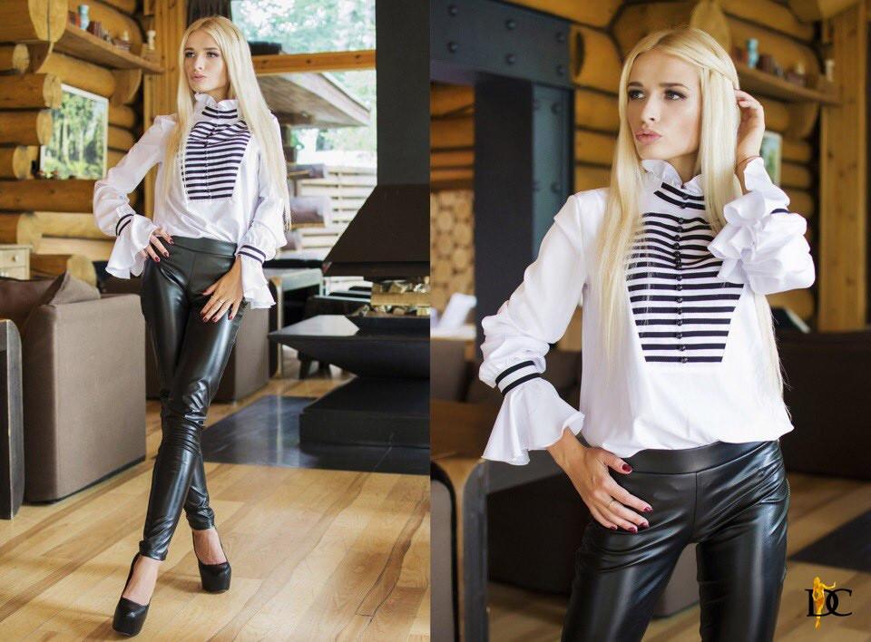 Очаровательная блуза, ткань: софт. Размер: С,М. Цвет: белый (Р 1847)