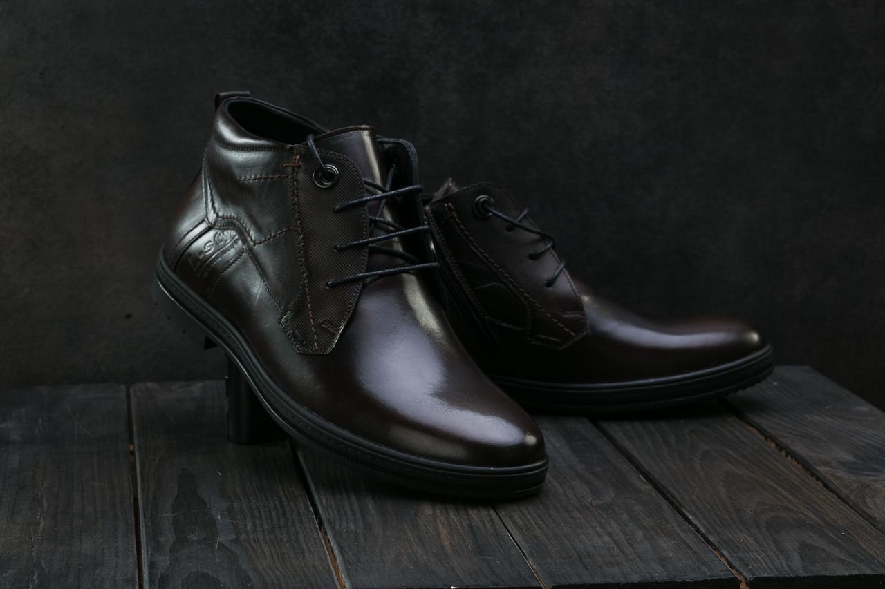 Мужские ботинки кожаные зимние коричневые L-Style 3589