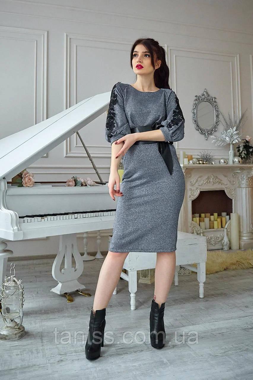 Нарядное молодежное платье большого размера, люрекс трикотаж на х/б осн. р. 50,52 серое (737) сукня
