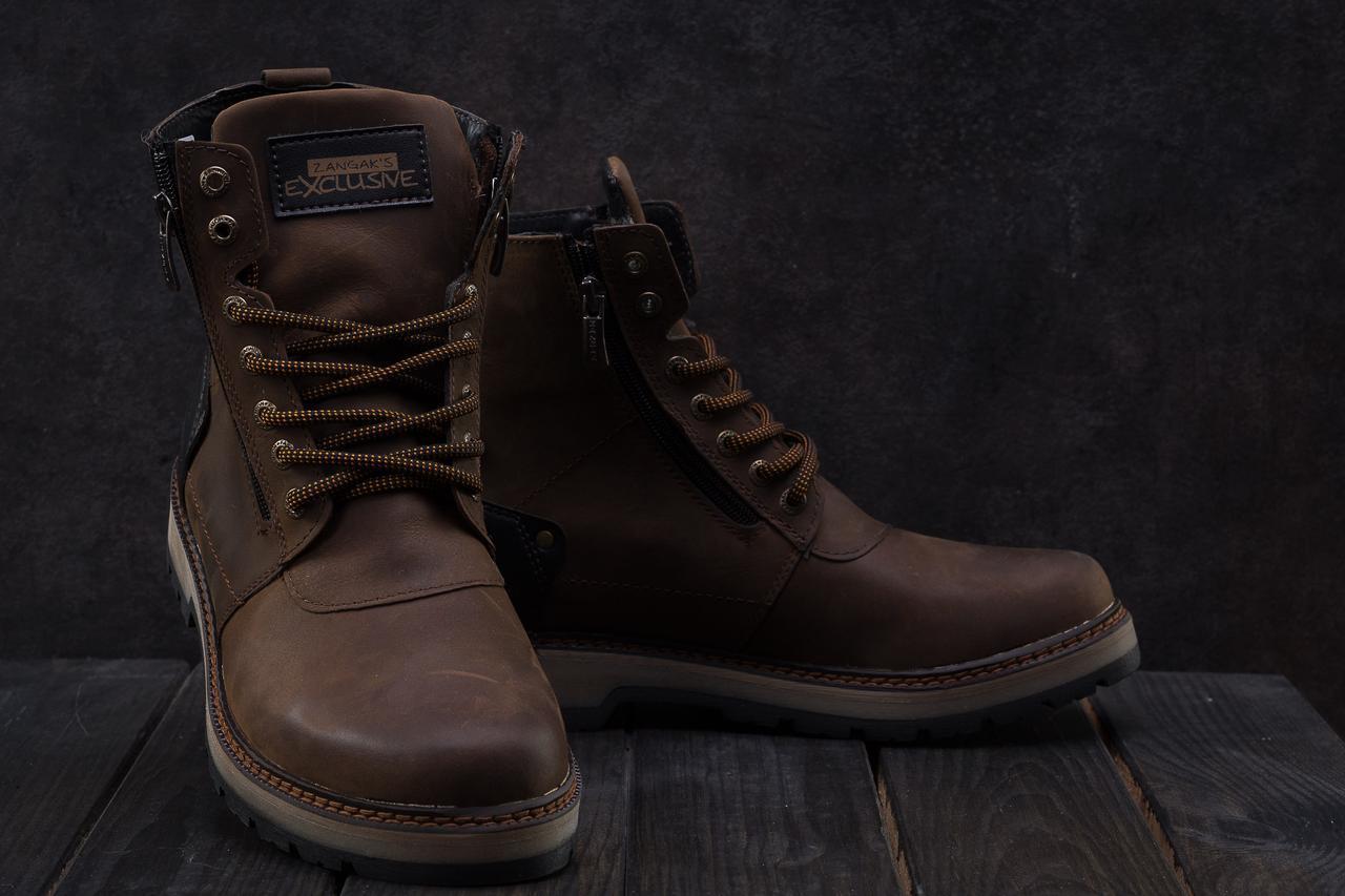 Мужские ботинки кожаные зимние коричневые-матовые Zangak 136
