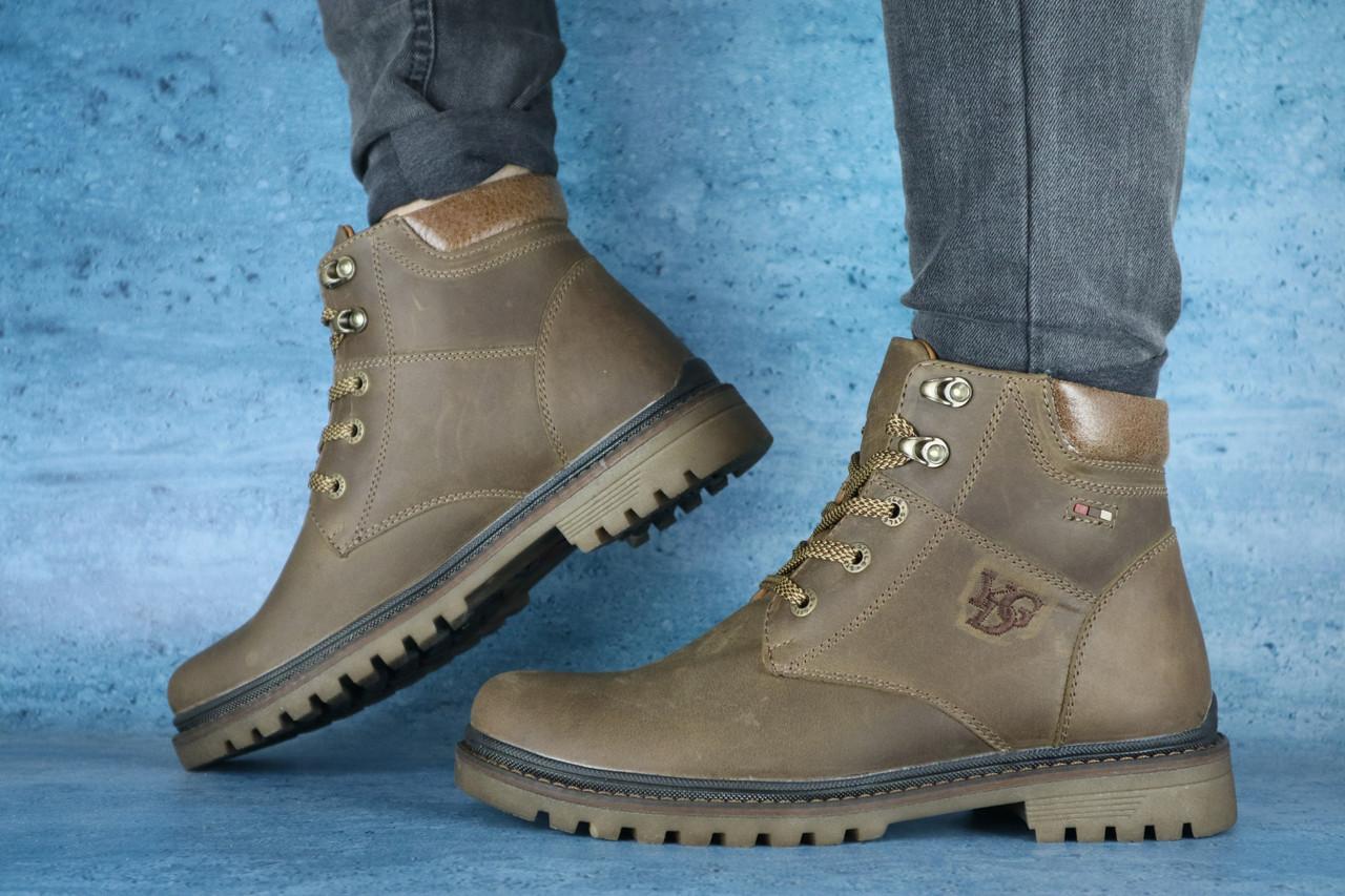 Чоловічі черевики шкіряні зимові оливкові Udg 741