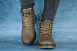 Чоловічі черевики шкіряні зимові оливкові Udg 741, фото 4