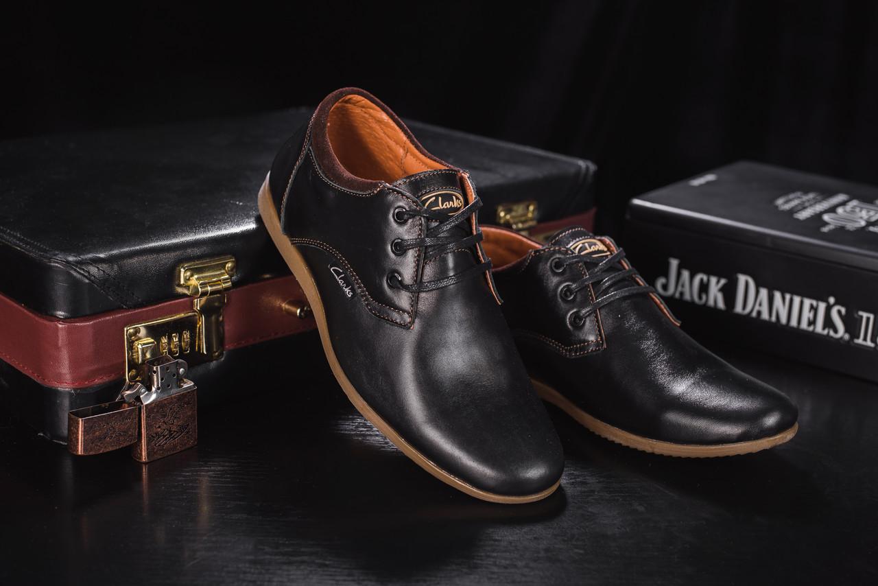 Подростковые туфли кожаные весна/осень черные Yuves Clas