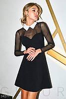 Короткое расклешенное платье-мини с прозрачной кокеткой и рукавами