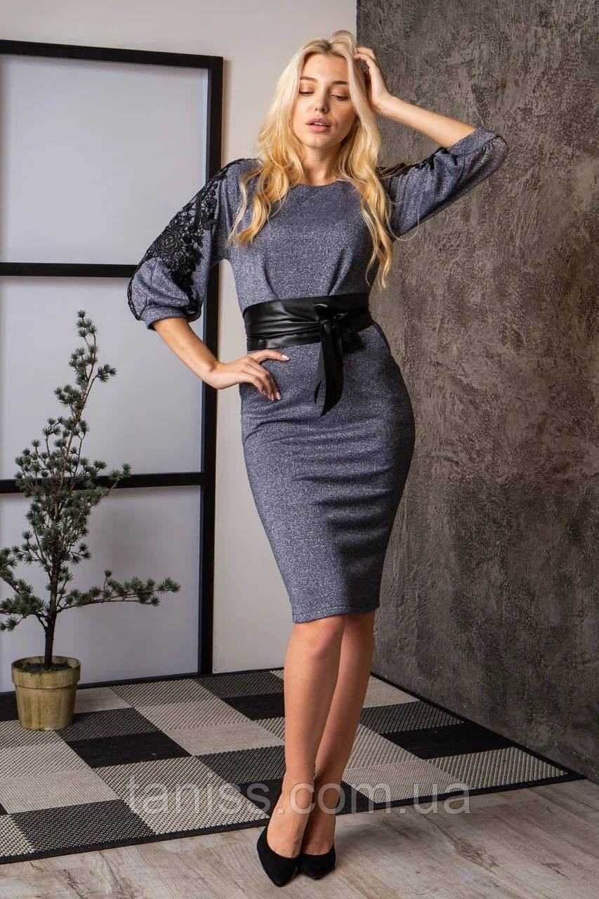 Ошатне молодіжне плаття великого розміру, люрекс трикотаж х/б осн. р. 48,50,52 синій (737) сукня