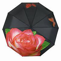 Женский складной зонт полуавтомат Feeling Rain с розовой розой, черный, 469-2