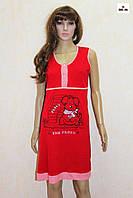 Женская ночная рубашка красная для беременных и кормящих мам кулир 44-56р., фото 1