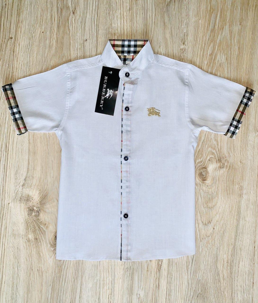 Рубашка белая Burberry с коротким рукавом для мальчика