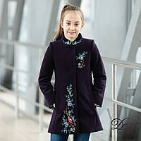 Элегантное кашемировое пальто для девочки « Вышивка - 1 »