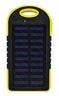 Внешний акумулятор Power bank UKC PB-263 10000 mAh с солнечной панелью и фонариком + карабин Черный с желтым