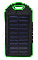 Внешний акумулятор Power bank UKC PB-263 10000 mAh с солнечной панелью и фонариком + карабин Черный с зеленым