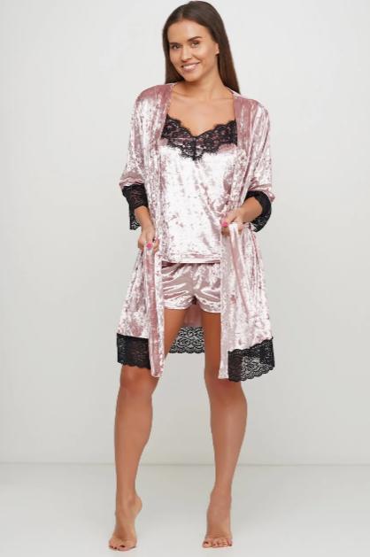 Нежно-розовый велюровый комплект (майка, шорты, халат) M