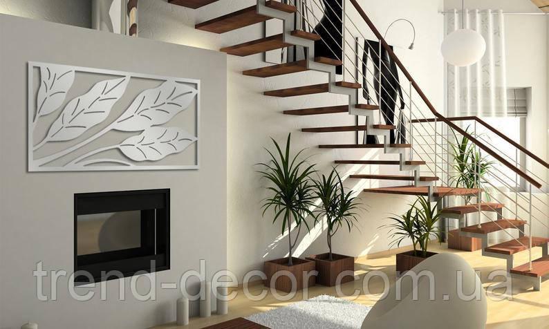 Декоративное металлическое панно Листья узкие .
