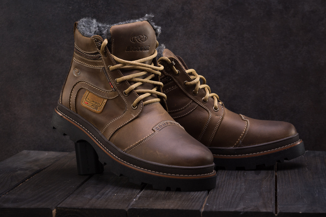 Мужские ботинки кожаные зимние оливковые Riccone 315