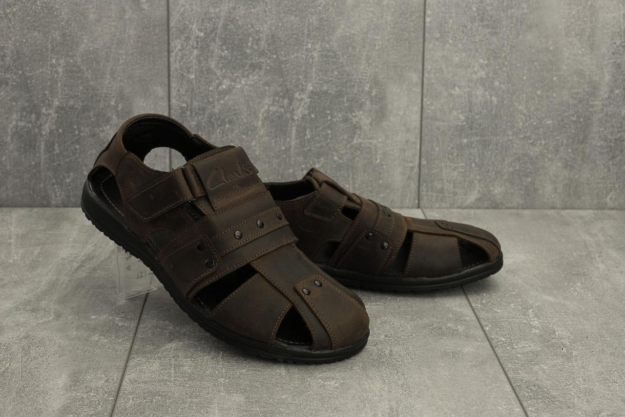 Чоловічі сандалі шкіряні літні коричневі Yuves 155