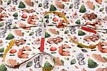 """Лоскут ткани с цифровой печатью """"Белки и медведи, ёлки и грибы"""" на белом № 2278, размер 17*160 см, фото 4"""